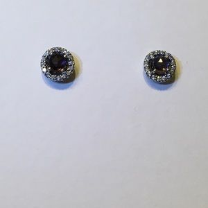 PANDORA Amethyst and Silver Sparkle Earrings